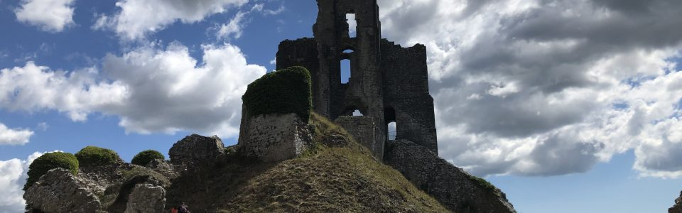 The towering ruins of Corfe Castle